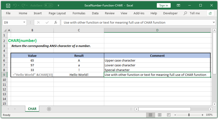 Return the corresponding ANSI character of a number in Excel