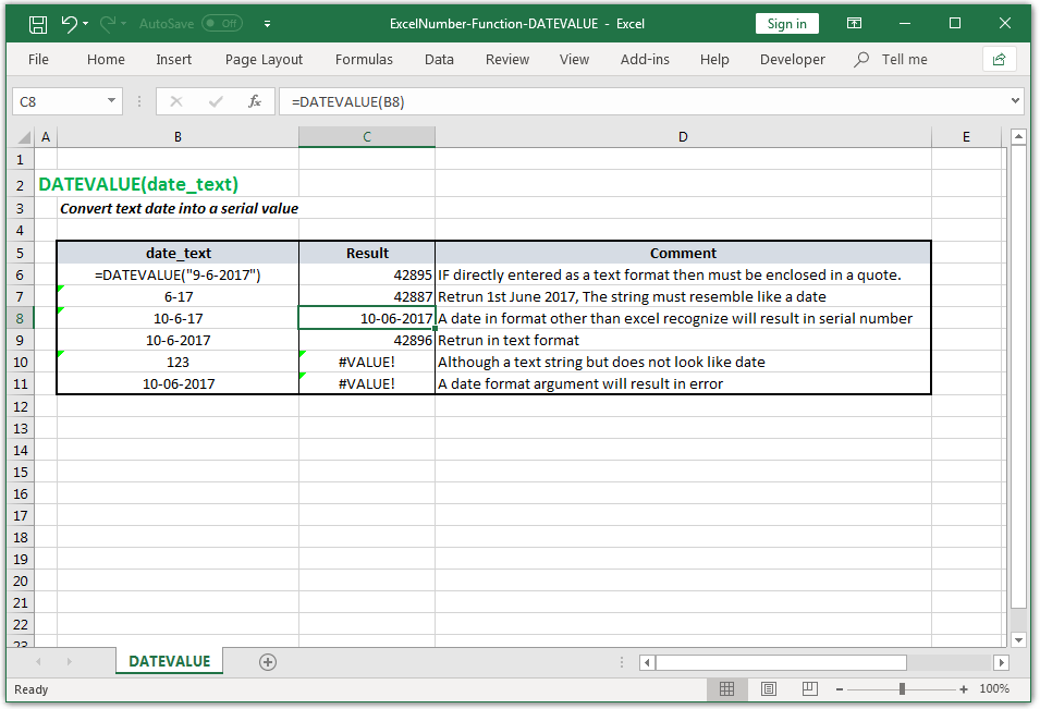 Convert text date into a serial value in Excel