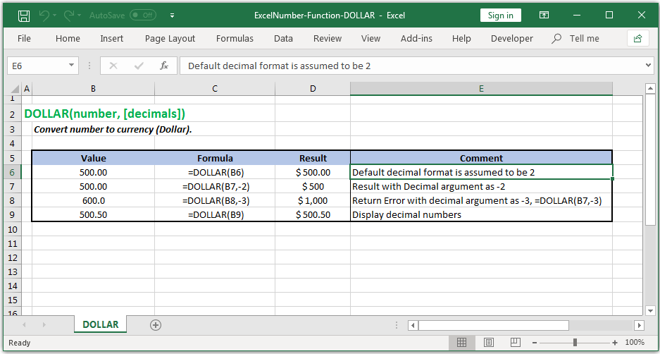 Convert number to currency (Dollar) in Excel