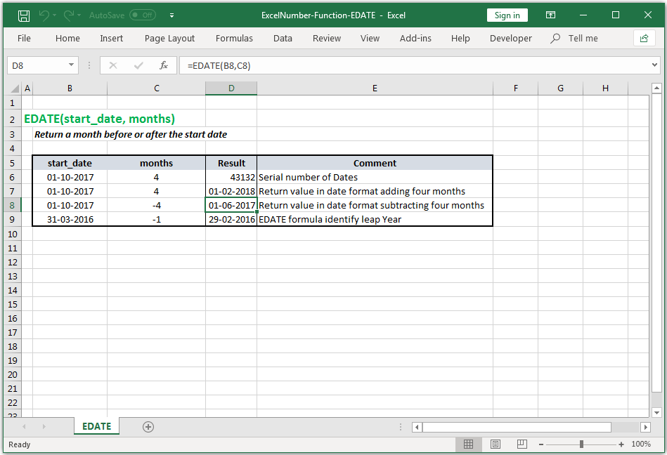 Return a month before or after the start date in Excel