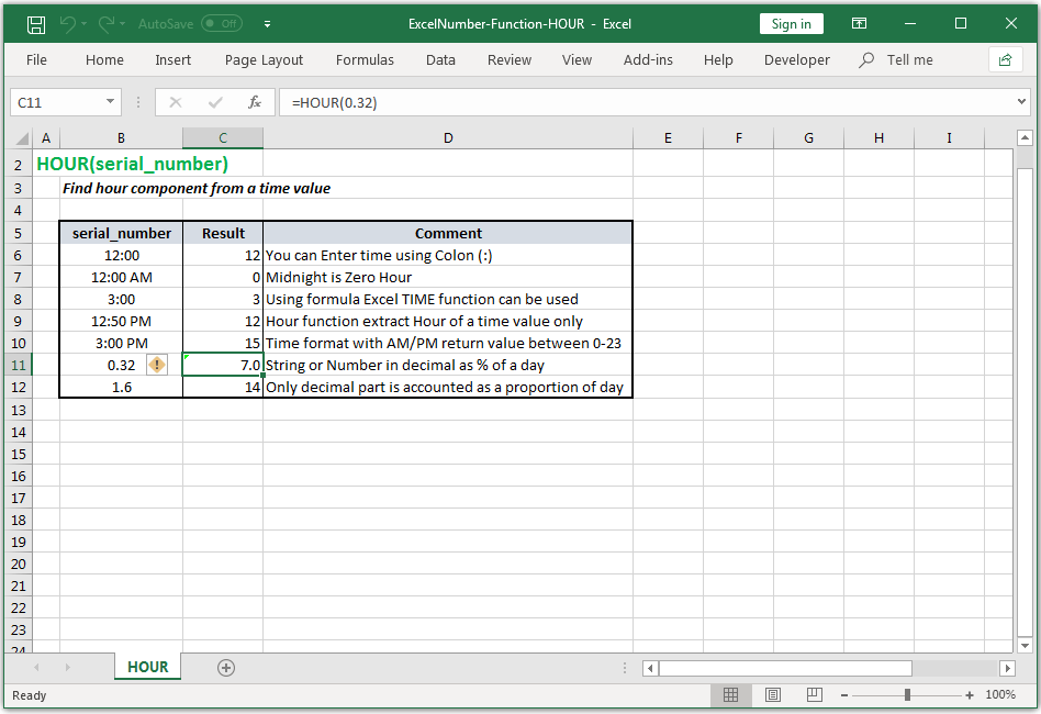 Find hour component from a time value in Excel