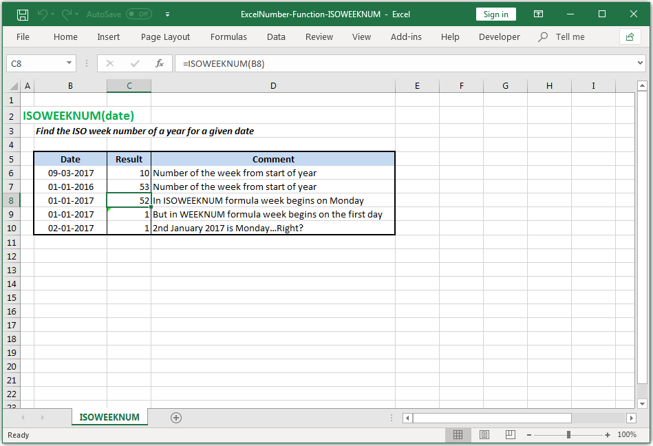 Find the ISO week number of a year for a given date in Excel
