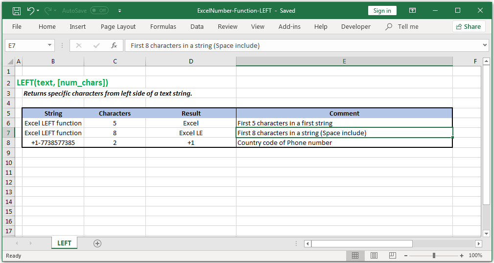 Returns characters from the left side of a text string in Excel