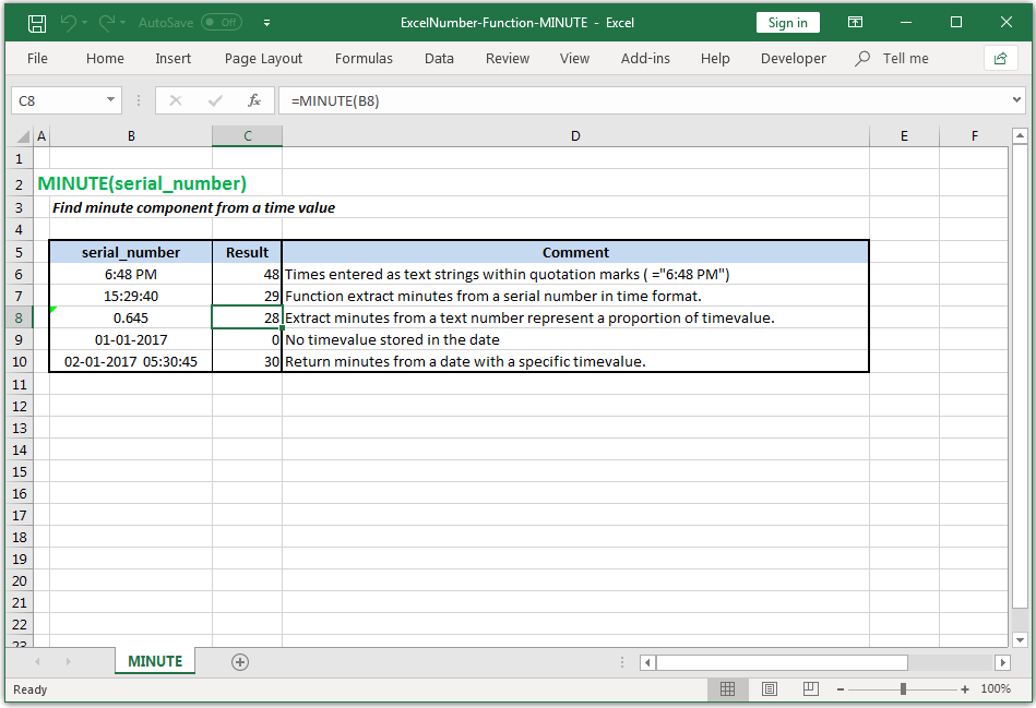 Find minute component from a timevalue in Excel