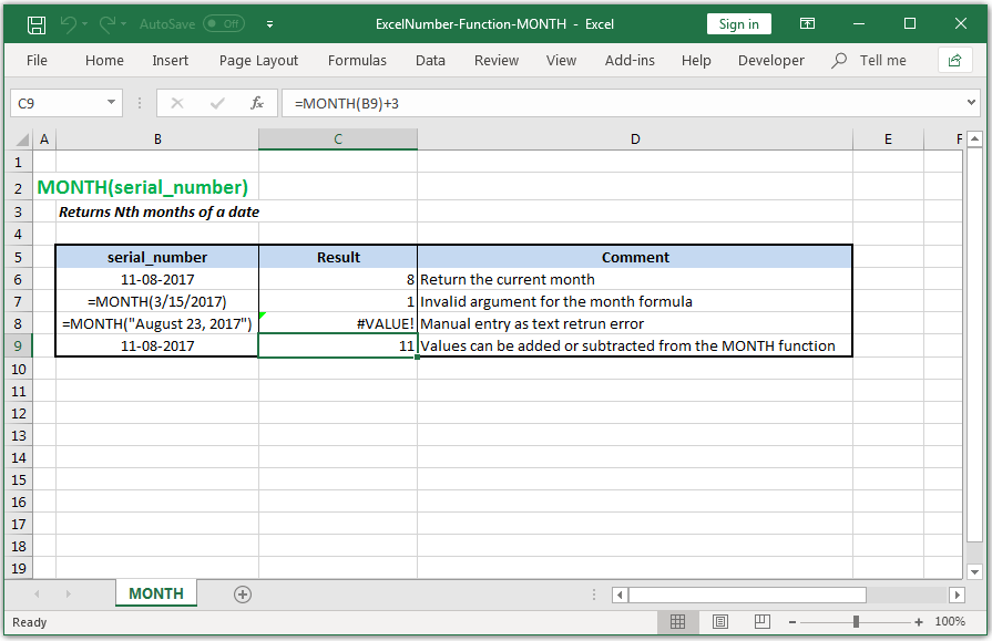 Returns Nth months of a date in Excel