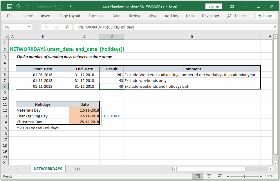 Find a number of working days between a date range in Excel