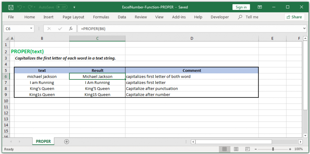 Capitalizes the first letter of each word in Excel