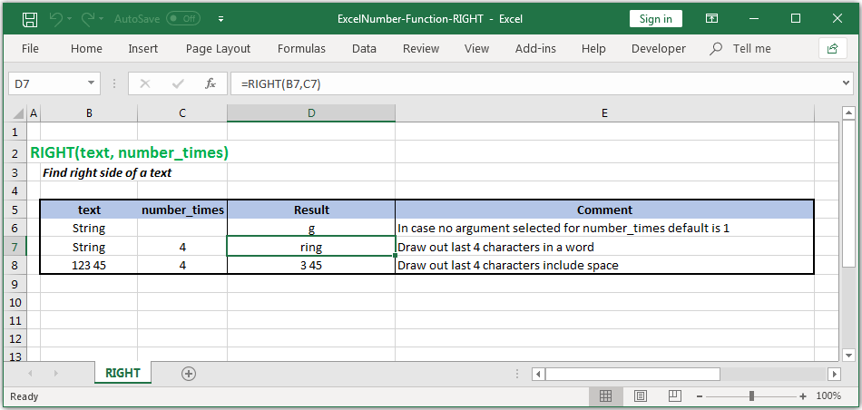 Get rightmost characters from a text in Excel