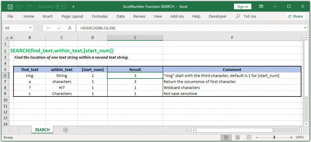 Finds position of one text value within another Text in Excel