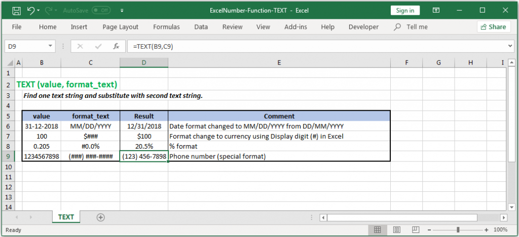Change the format of a number and converts it to text in Excel