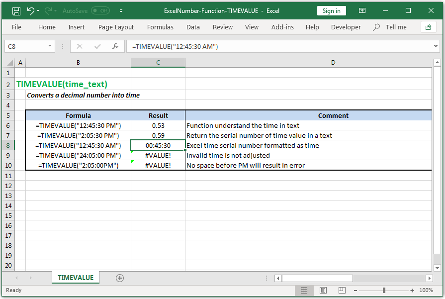 Converts a decimal number into time in Excel