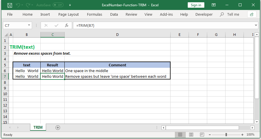 Remove unnecessary spaces from text in Excel