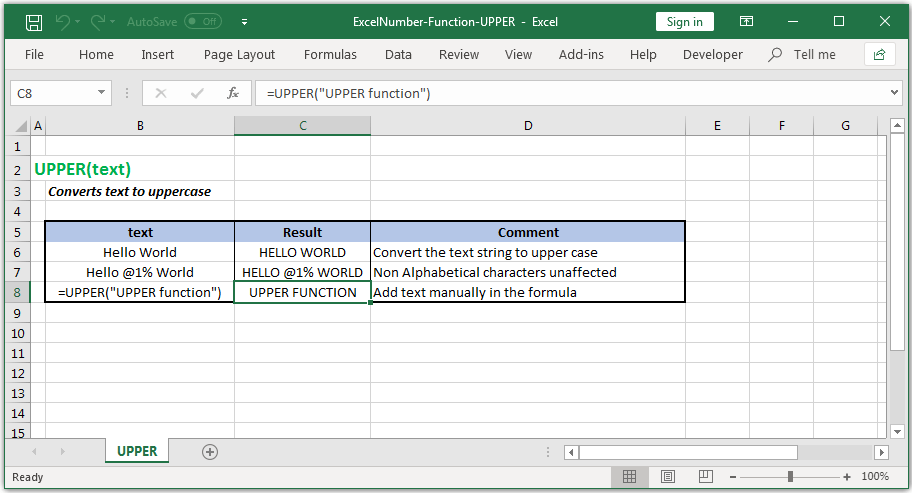 Converts text to uppercase in Excel