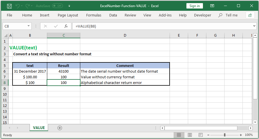Convert a text string without number format in Excel