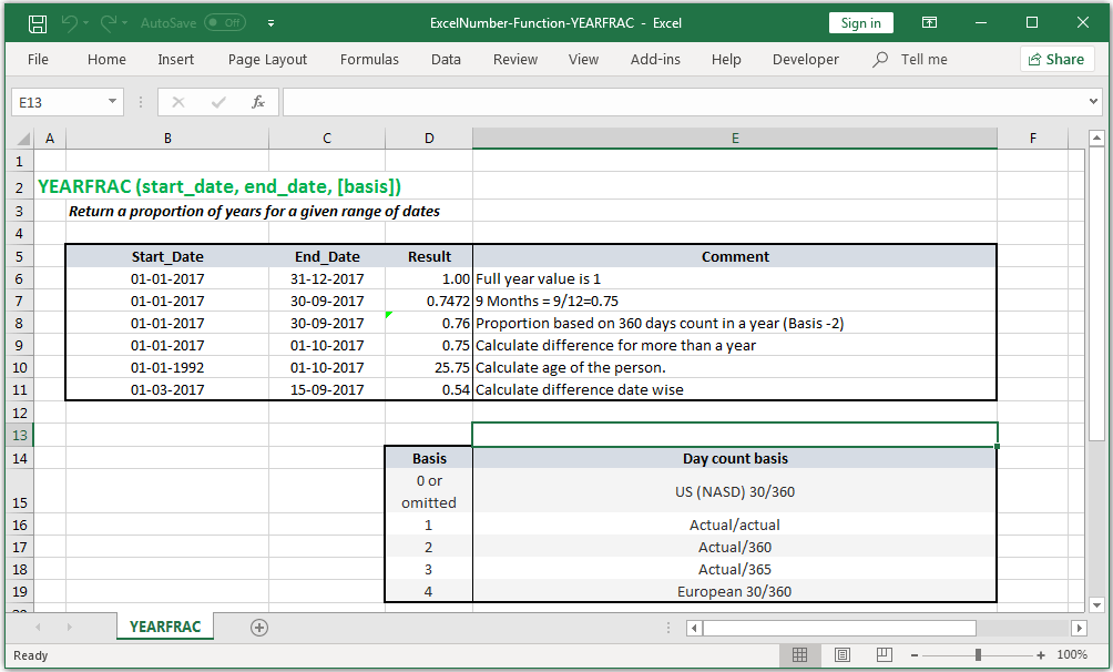 Returns a proportion of years for a given range of dates in Excel