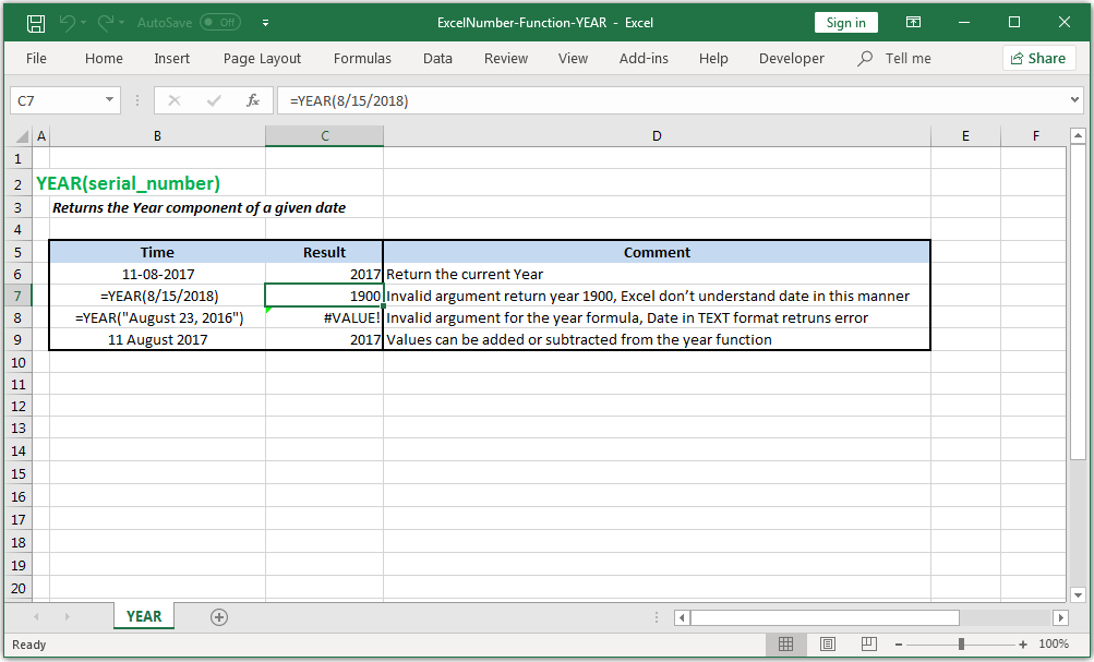 Returns the Year component of a given date in Excel
