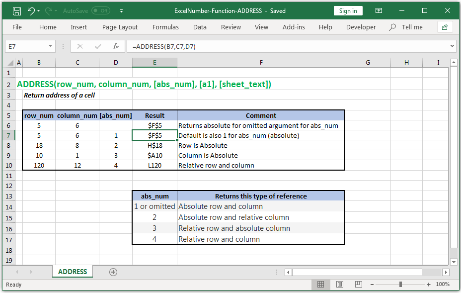 Return address of a cell in Excel