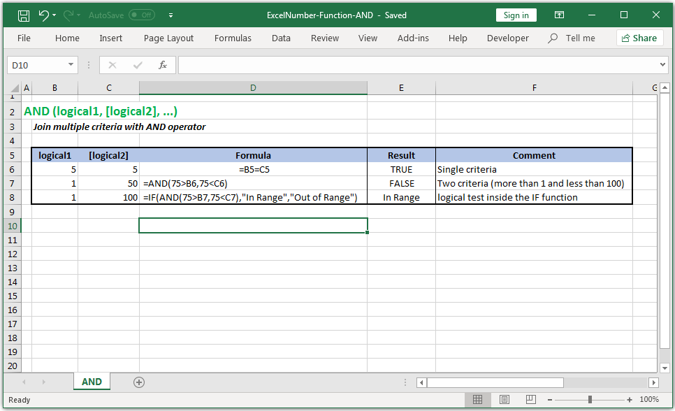 Returns TRUE if all its arguments are correct in Excel
