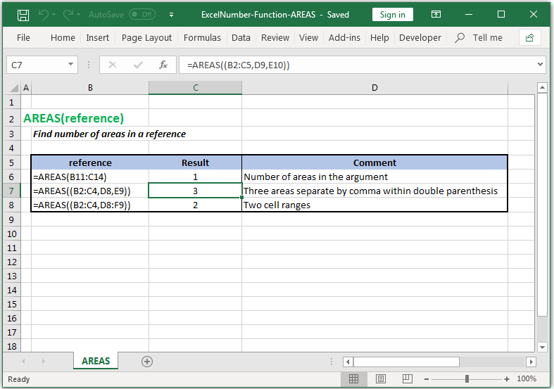 Find number of areas in reference in Excel