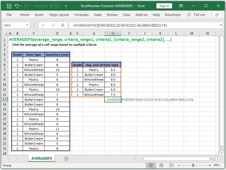 Find the average of a cell range based on multiple criteria in Excel