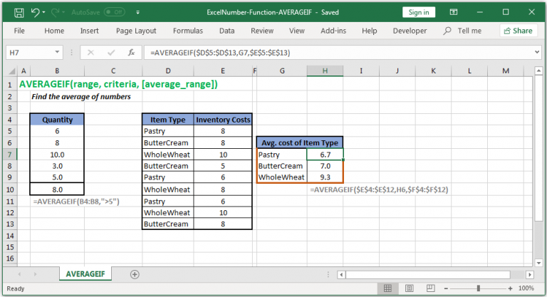 Find the average of numbers in Excel