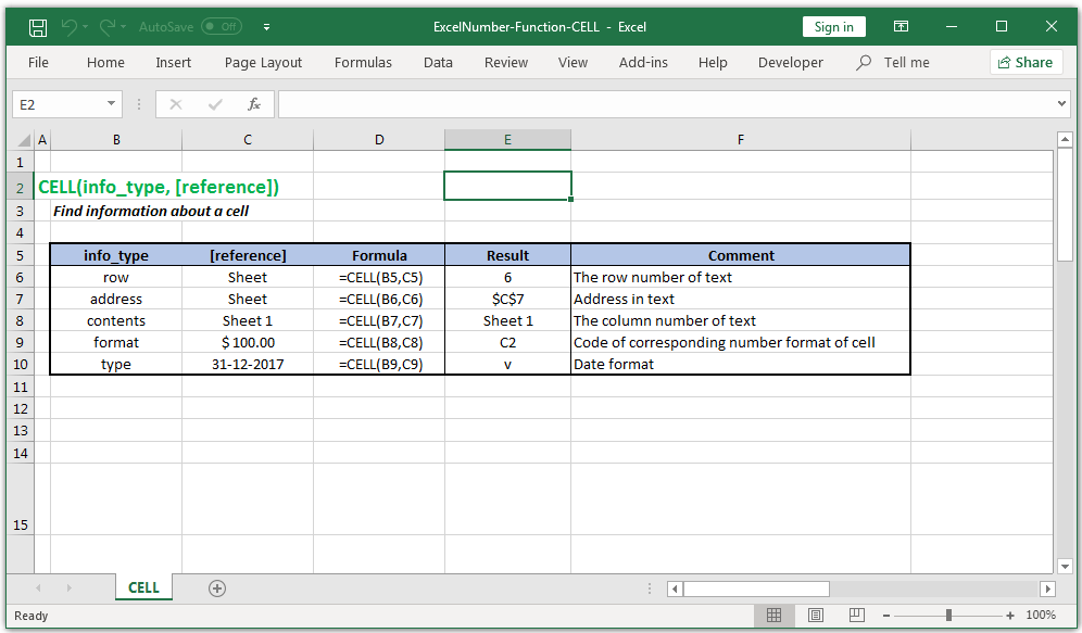 Find information about a cell in Excel