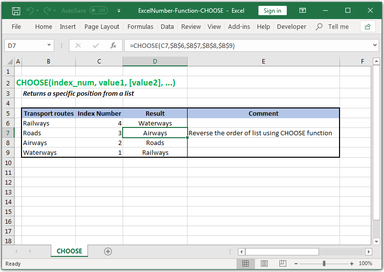 Returns a specific position from a list in Excel