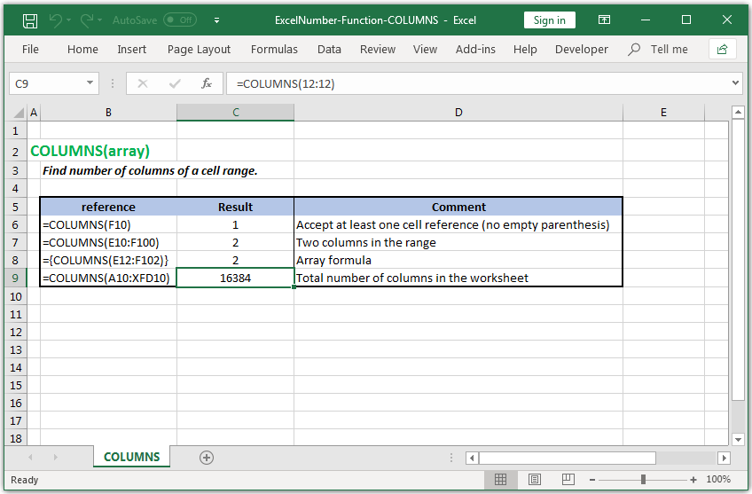 Count all columns of a cell range in Excel