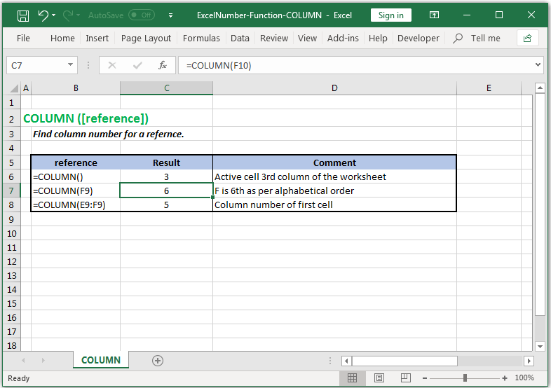 Find column number for a reference in Excel