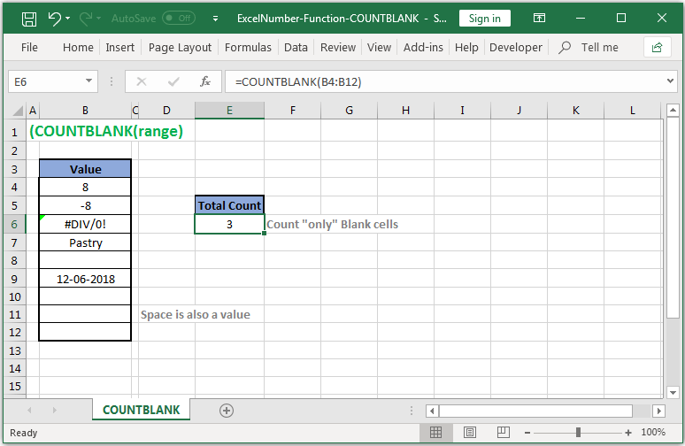 Count cells that are blank in Excel