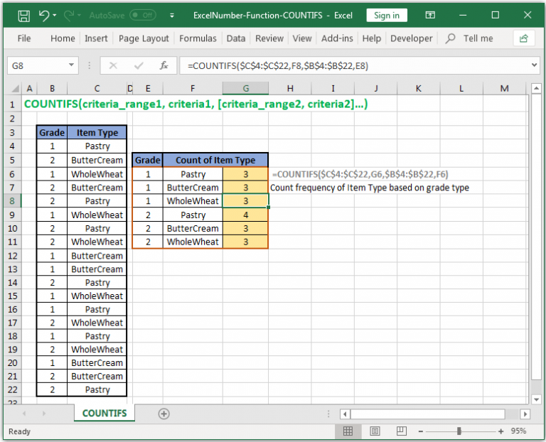 Count reference cells based on multiple criteria in Excel