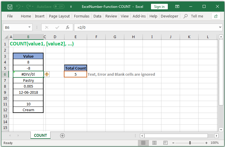 Counts cells with only Numbers in Excel
