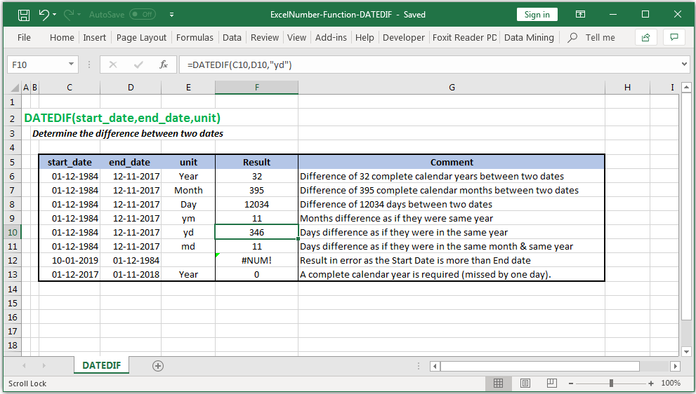 Determine the difference between two dates in Excel