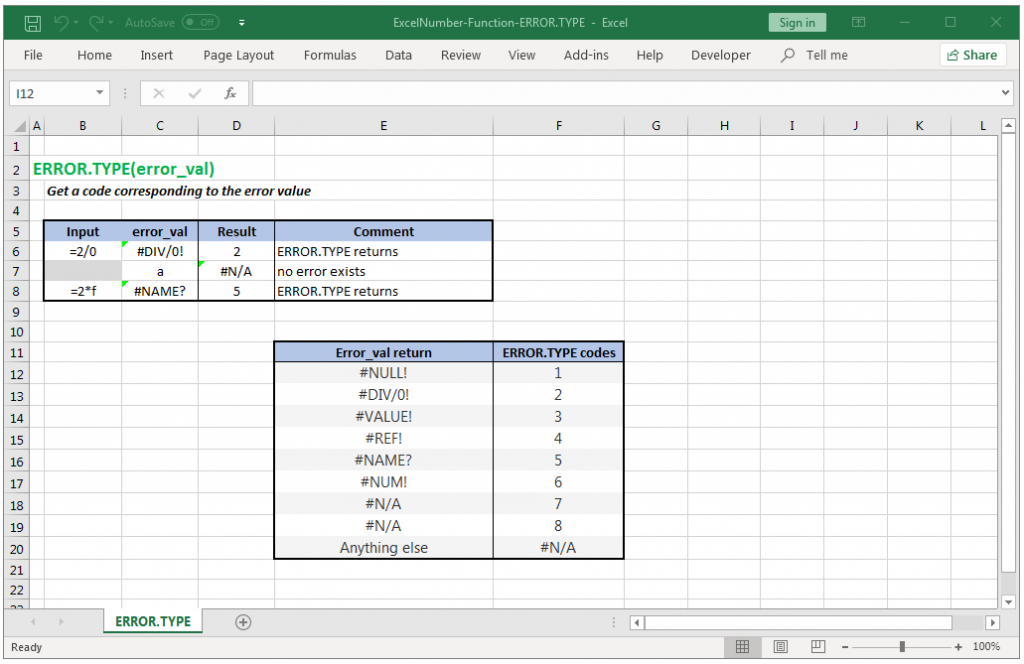 Find an error code corresponding to the error value in Excel