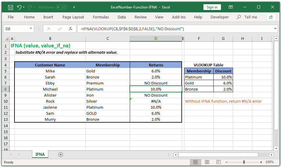Substitute #N/A error and replace with an alternate value in Excel