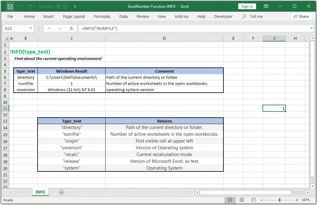 Find about the current operating environment in Excel