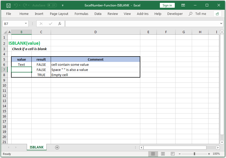 Check if a cell is blank in Excel