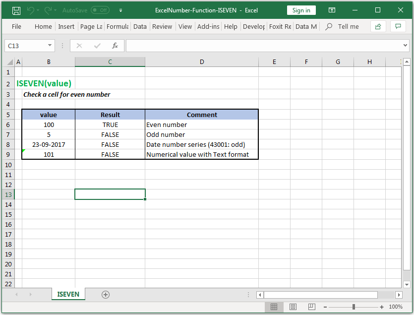 Check a cell for even number in Excel
