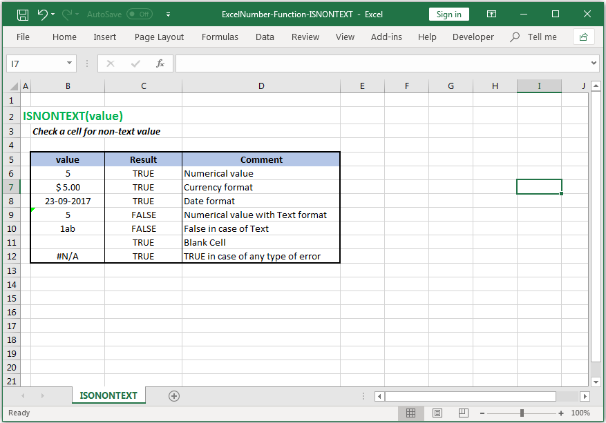 Check a cell for non-text value in Excel