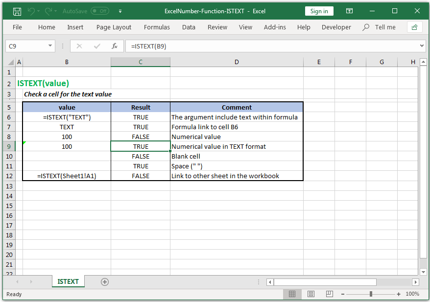 Check a cell for the text value in Excel