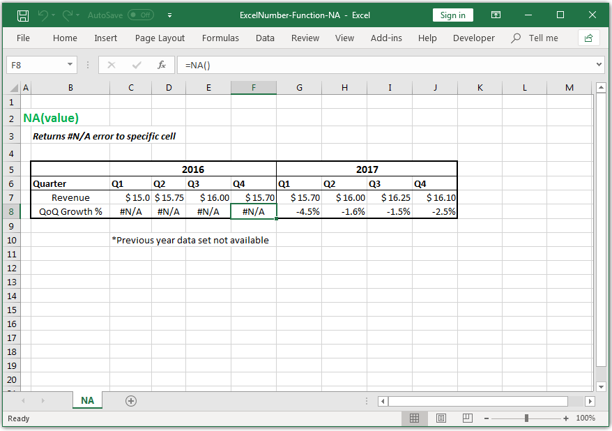 Returns #N/A error to specific cell in Excel