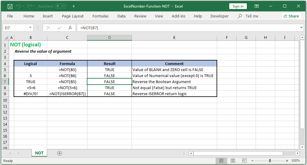 Reverse the logical value of the argument in Excel