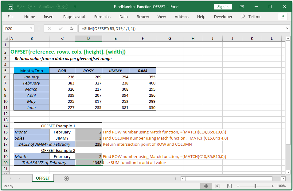 Returns value from a data as per given offset range in Excel