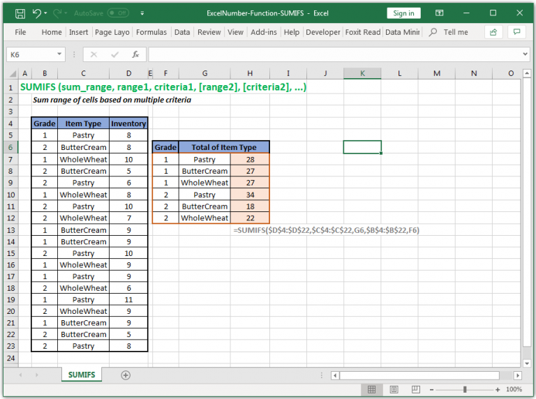 Sum range of cells based on multiple criteria in Excel