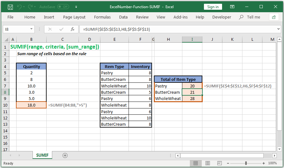 Sum range of cells based on the rule in Excel