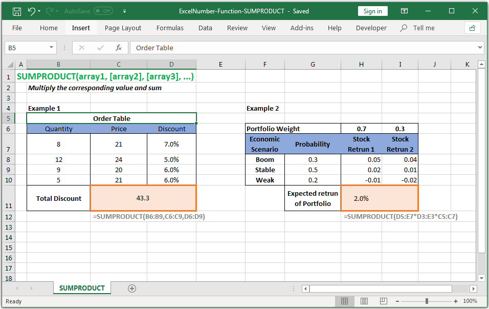 Multiply the corresponding value and sum in Excel