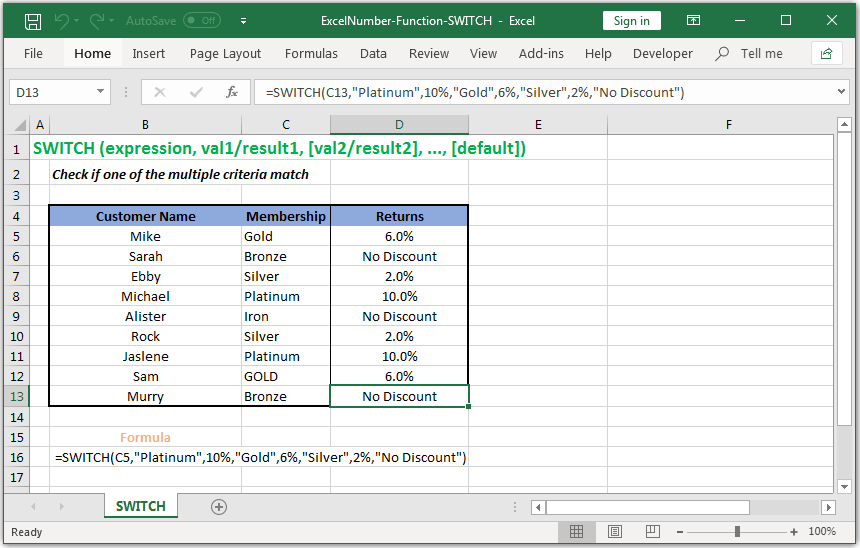 Check if one of the multiple criteria match in Excel