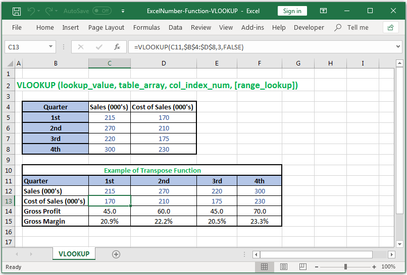Lookup a value in a left column of a table or an array in Excel