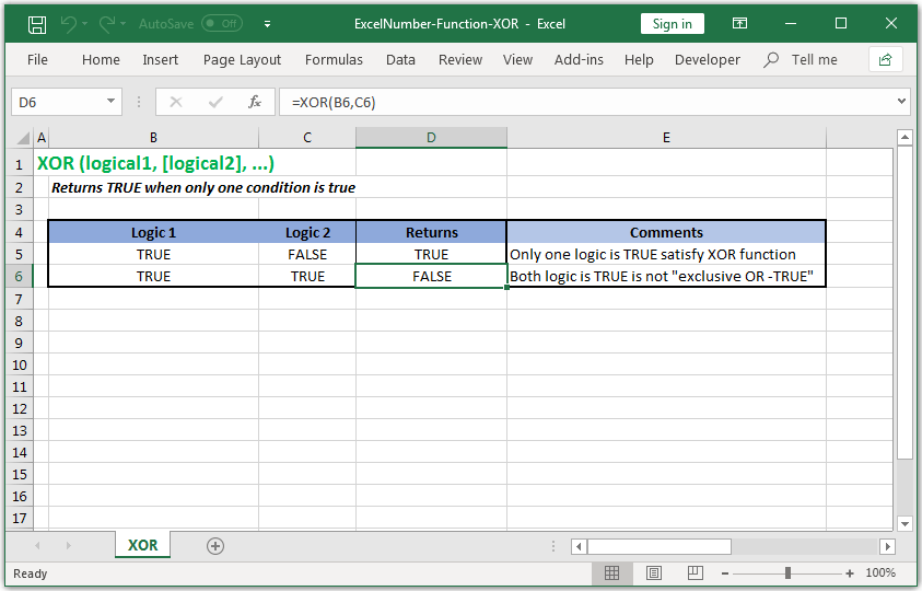 Returns TRUE when only one condition is true in Excel