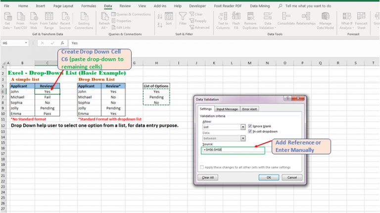 Example of Drop-Down list Excel